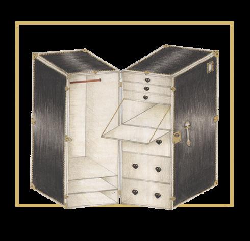 baule pelle nero grande porta abiti con interno ante e cassetti bianchi