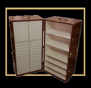 baule con cassettiere da viaggio vintage fatto a mano