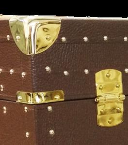 baule con inserto metallico in pelle vintage