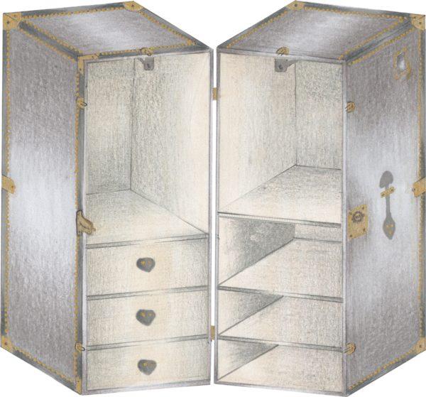 baule da camera o da cabina armadio grigio 4 ripiani 2 maniglie 2 bastoni 2 cassetti tasca esterna rifiniture in ottone aperto