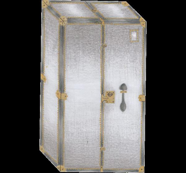 baule da camera o da cabina armadio grigio 4 ripiani 2 maniglie 2 bastoni 2 cassetti tasca esterna rifiniture in ottone